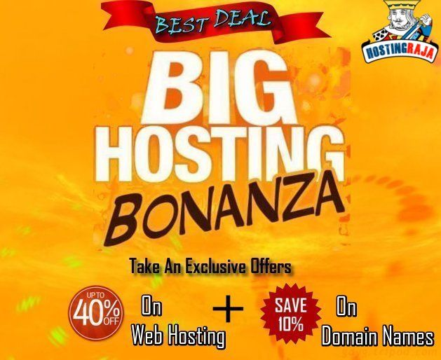 HostingRaja Web Hosting 40% Off & 10% Off on Domain names – Offer Valid on all web hosting plans. Rush Now,@ http://www.webhostingsindia.in
